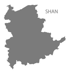 Shan myanmar map grey vector