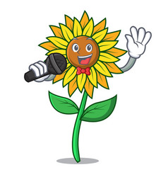 singing sunflower mascot cartoon style vector image