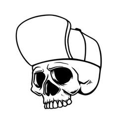 skull in baseball hat isolated on white vector image