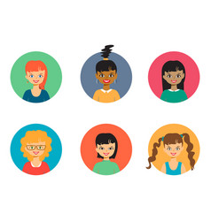 smiling people portraits girls faces and vector image