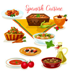 Spanish cuisine tasty dinner menu cartoon icon vector