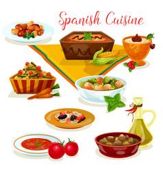 spanish cuisine tasty dinner menu cartoon icon vector image