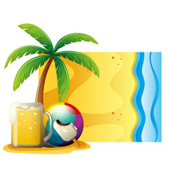 Summer scene with fresh beer and ball on the beach vector