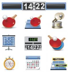 Table tennis icon set vector