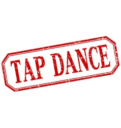 Tap dance square red grunge vintage isolated label vector
