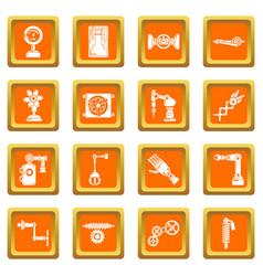 Technical mechanisms icons set orange square vector