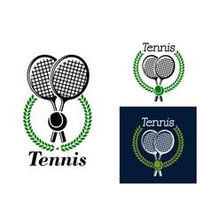 Tennis emblem with laurel wreath vector image