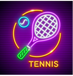 tennis game neon icon vector image