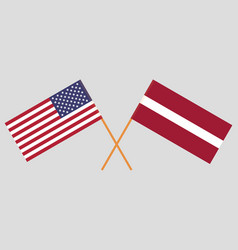 The latvian and united states of america flags vector
