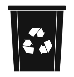 Trash bin with recycle symbol icon simple style vector