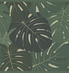 tropical seamless pattern with dark green leaves vector image