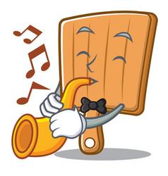 trumpet kitchen board character cartoon vector image vector image