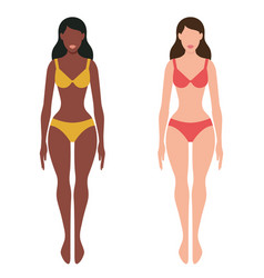 two girls european and afro-american vector image