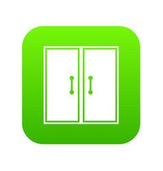 Two glass doors icon digital green vector