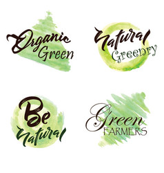 Watercolor green leaves logo collection vector