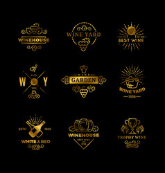 Wine logos and emblems isolated on black vector