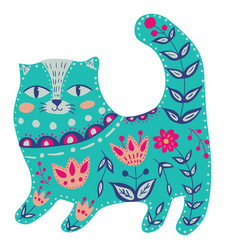 with beautiful cat in pattern and flowers vector image