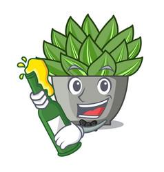 With beer cartoon echeveria cactus in cactus vector