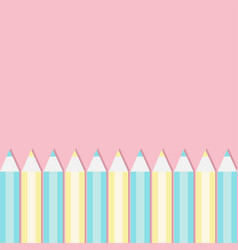 yellow and blue pencil set frame back to school vector image