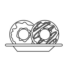donuts on dish in monochrome silhouette on white vector image vector image