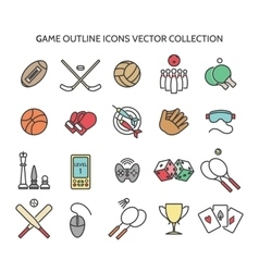 Game outline icons vector image vector image