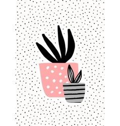 Pink and Gray Pots with Plants vector image vector image