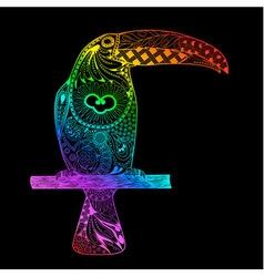 Rainbow gradient toucan vector