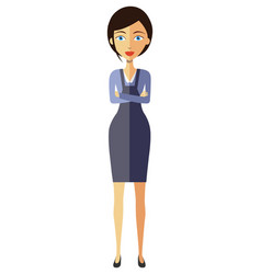 young businesswoman lady with crossed arms vector image