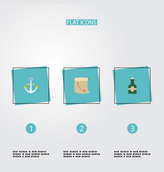 Flat icons bottle armature treasure map and vector