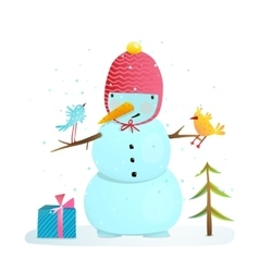 Funny snowman with birds present and small tree vector image