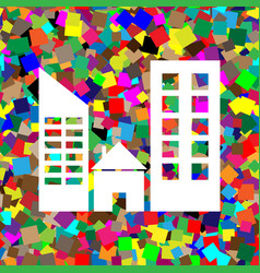 real estate sign white icon on colorful vector image