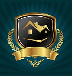 real estate symbol golden design vector image vector image