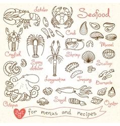 Set drawings of seafood for design menus recipes vector image