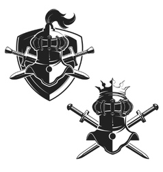 Set of the emblems templates with swords and vector image vector image