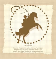 cowboy rodeo man vintage backdrop vector image