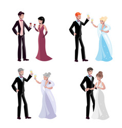 cute couple evening dress cartoon set vector image