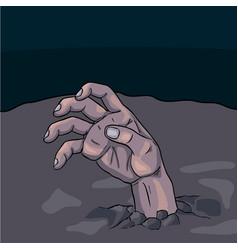 halloween zombie hand cartonn vector image