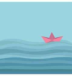 Origami paper boat and ocean sea waves Flat vector image