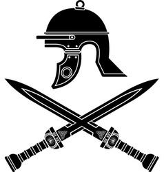 roman helmet and swords vector image vector image