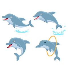 cute dolphin cartoon collection set vector image