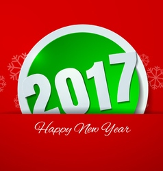 Happy new year 2017 cut paper on red background vector
