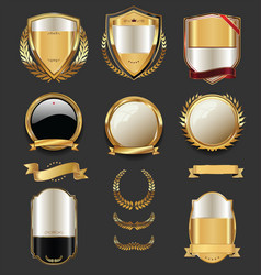 luxury golden labels retro vintage collection 2 vector image vector image