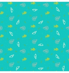 Nautical pattern with shells and fishes vector image vector image