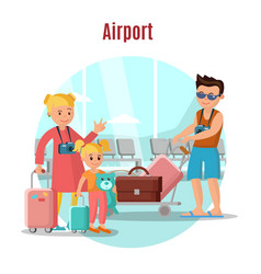 people in airport concept vector image vector image