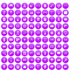 100 building materials icons set purple vector