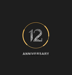 12 anniversary logotype with silver number vector