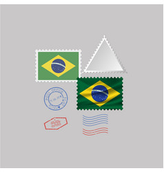 A set stamps with image flag brazil vector