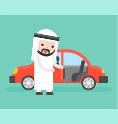 Arab businessman or salesman open cars door for vector