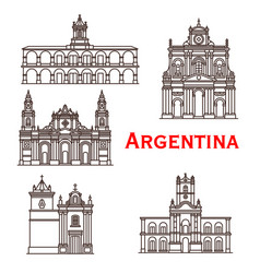 Argentina landmarks buildings line icons vector