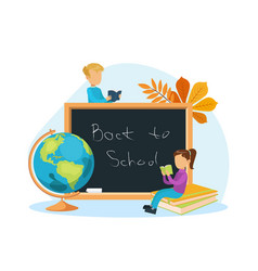 back to school cute tiny school children reading vector image